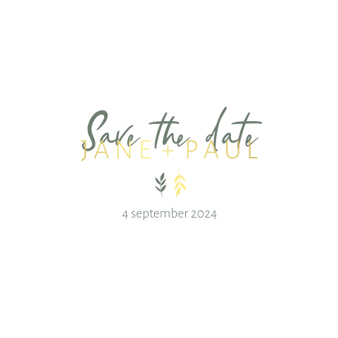 Save the date minimalistisch takjes goudfolie